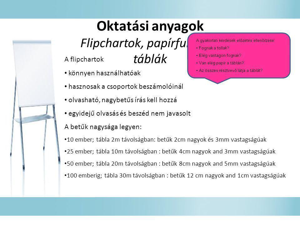 Oktatási anyagok Flipchartok, papírfunkciós táblák A flipchartok • könnyen használhatóak • hasznosak a csoportok beszámolóinál • olvasható, nagybetűs
