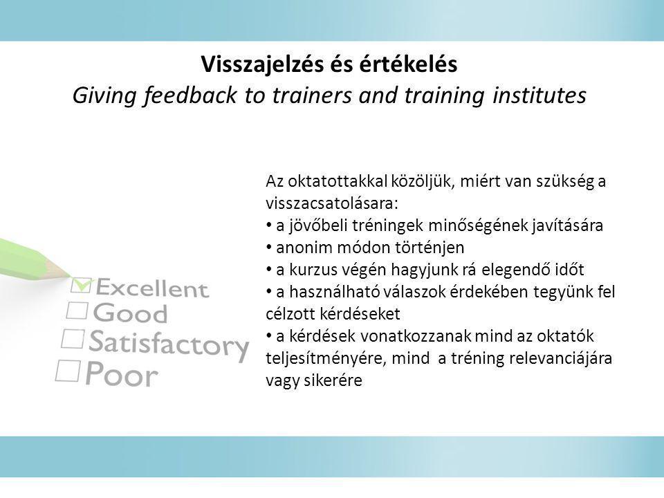 Visszajelzés és értékelés Giving feedback to trainers and training institutes Az oktatottakkal közöljük, miért van szükség a visszacsatolásara: • a jö