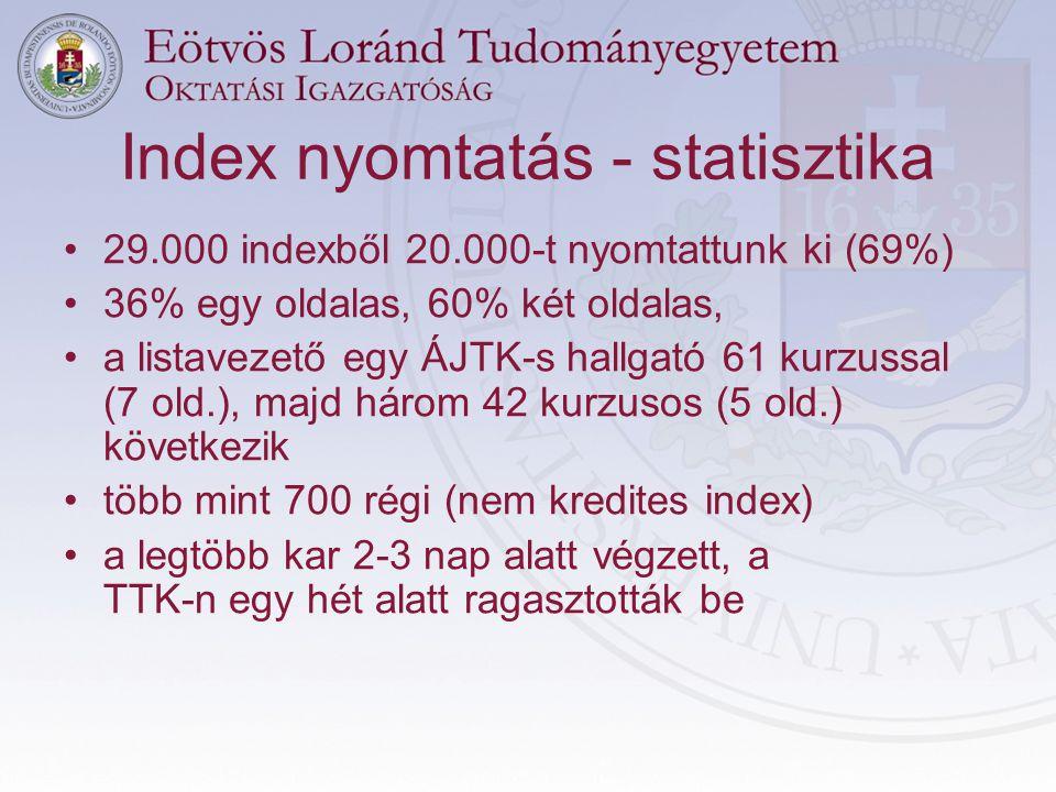Index nyomtatás - statisztika •29.000 indexből 20.000-t nyomtattunk ki (69%) •36% egy oldalas, 60% két oldalas, •a listavezető egy ÁJTK-s hallgató 61 kurzussal (7 old.), majd három 42 kurzusos (5 old.) következik •több mint 700 régi (nem kredites index) •a legtöbb kar 2-3 nap alatt végzett, a TTK-n egy hét alatt ragasztották be