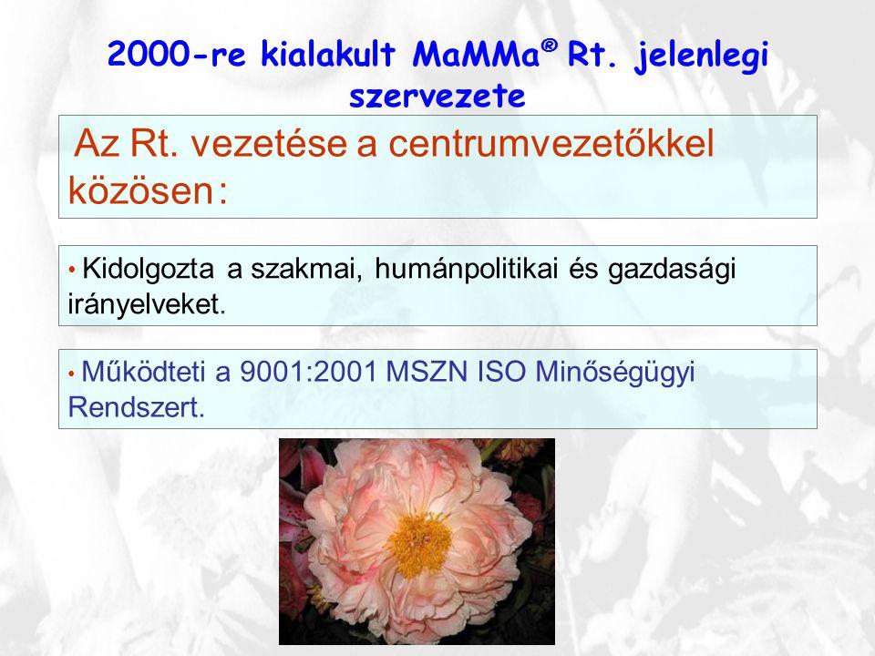 2000-re kialakult MaMMa ® Rt. jelenlegi szervezete Az Rt. vezetése a centrumvezetőkkel közösen : • Kidolgozta a szakmai, humánpolitikai és gazdasági i