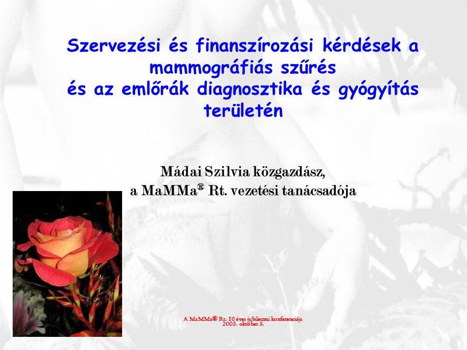 Szervezési és finanszírozási kérdések a mammográfiás szűrés és az emlőrák diagnosztika és gyógyítás területén Mádai Szilvia közgazdász, a MaMMa ® Rt.