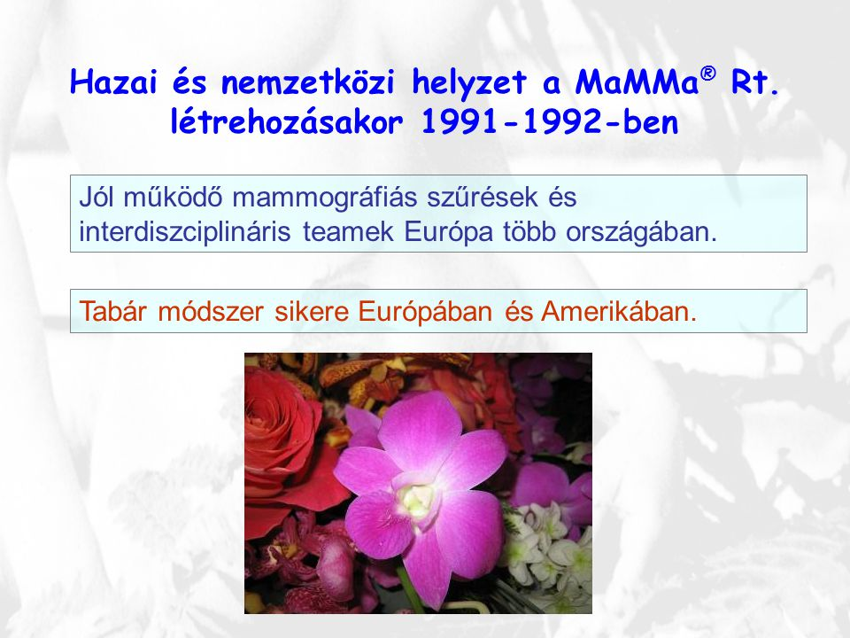 Hazai és nemzetközi helyzet a MaMMa ® Rt. létrehozásakor 1991-1992-ben Jól működő mammográfiás szűrések és interdiszciplináris teamek Európa több orsz
