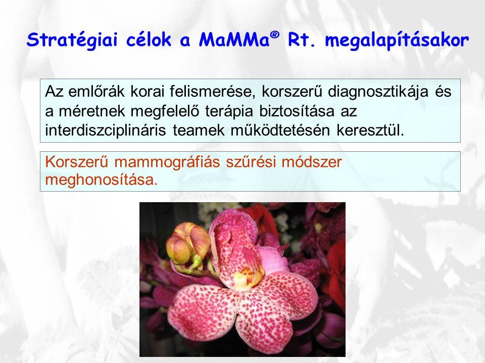 Stratégiai célok a MaMMa ® Rt. megalapításakor Az emlőrák korai felismerése, korszerű diagnosztikája és a méretnek megfelelő terápia biztosítása az in