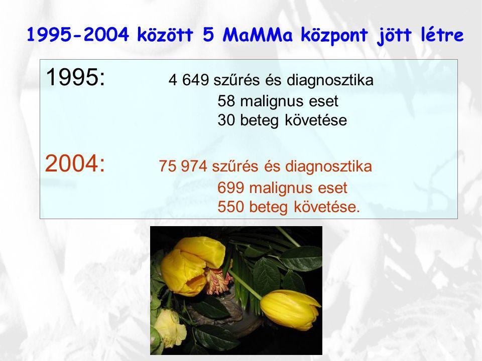 1995-2004 között 5 MaMMa központ jött létre 1995: 4 649 szűrés és diagnosztika 58 malignus eset 30 beteg követése 2004: 75 974 szűrés és diagnosztika