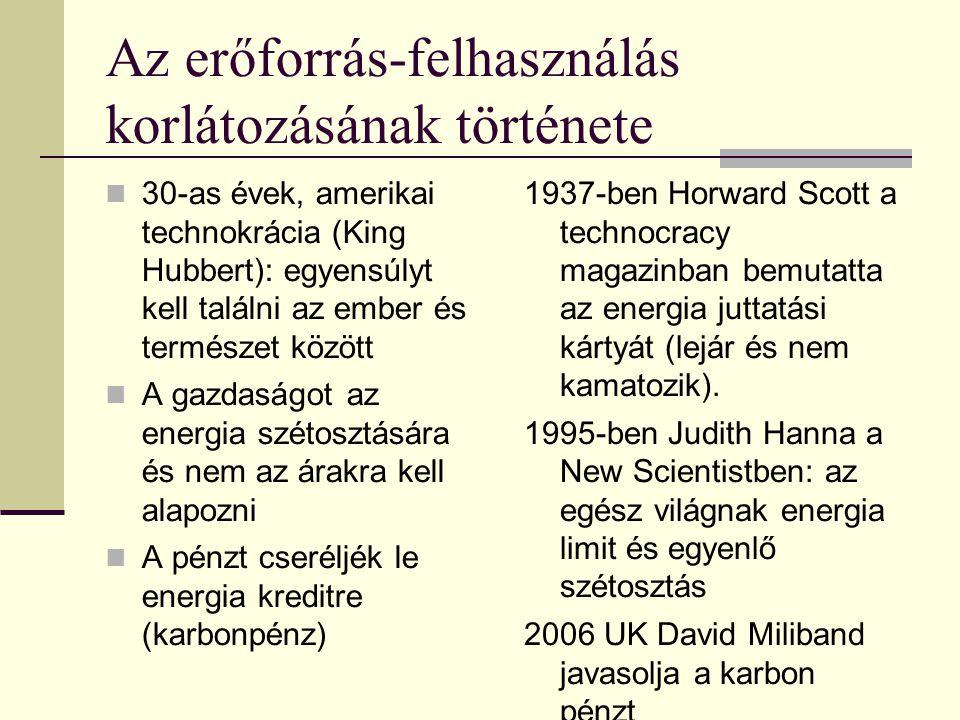 Az erőforrás-felhasználás korlátozásának története  30-as évek, amerikai technokrácia (King Hubbert): egyensúlyt kell találni az ember és természet között  A gazdaságot az energia szétosztására és nem az árakra kell alapozni  A pénzt cseréljék le energia kreditre (karbonpénz) 1937-ben Horward Scott a technocracy magazinban bemutatta az energia juttatási kártyát (lejár és nem kamatozik).
