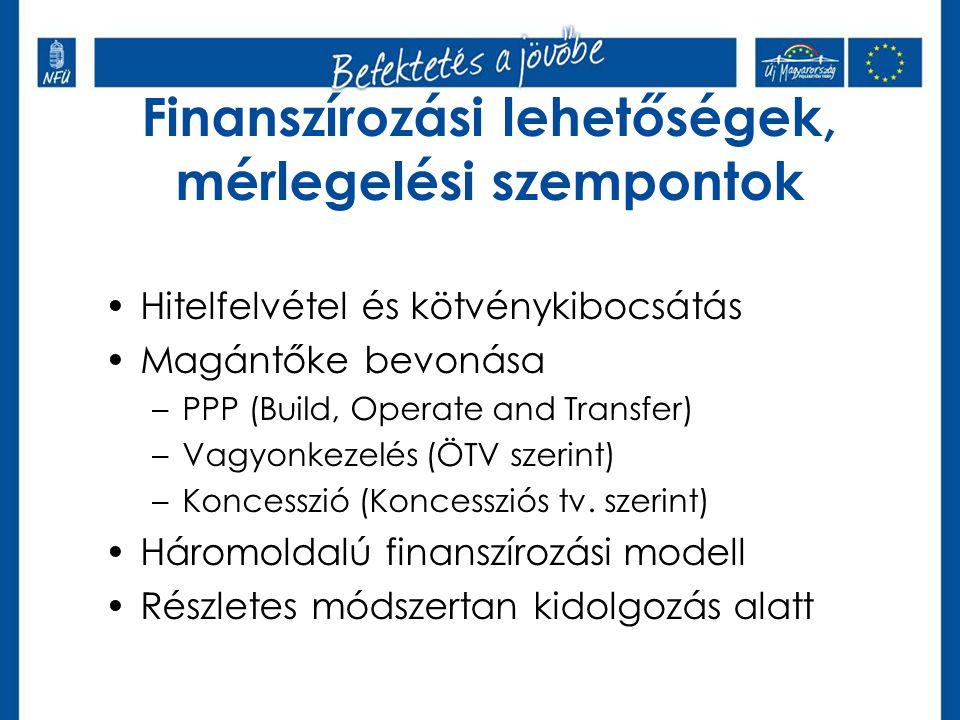 Finanszírozási lehetőségek, mérlegelési szempontok •Hitelfelvétel és kötvénykibocsátás •Magántőke bevonása –PPP (Build, Operate and Transfer) –Vagyonkezelés (ÖTV szerint) –Koncesszió (Koncessziós tv.