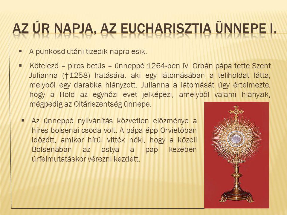  Az ünneppé nyilvánítás közvetlen előzménye a híres bolsenai csoda volt. A pápa épp Orvietóban időzött, amikor hírül vitték néki, hogy a közeli Bolse