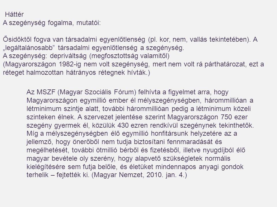 Az MSZF (Magyar Szociális Fórum) felhívta a figyelmet arra, hogy Magyarországon egymillió ember él mélyszegénységben, hárommillióan a létminimum szintje alatt, további hárommillióan pedig a létminimum közeli szinteken élnek.