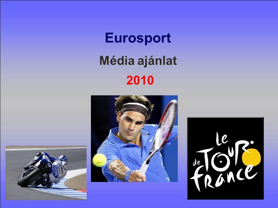 Az Eurosport Csoport Európa vezető sport multimédia platformja Az Eurosport Európa élenjáró sportcsatornája Az Eurosport Európa élenjáró sportcsatornája (EMS felmérés) 59 európai országban 114 millió otthonba jut el Napi 22 millió néző Európában EMS és TGI felmérések szerint az Eurosport a legerősebb pán-európai csatorna 20 nyelven sugározza műsorait, a nézők 95%-ban anyanyelvükön követhetik az eseményeket nézettsége 40%-kal emelkedett az elmúlt 6 évben Az Eurosport nézettsége 40%-kal emelkedett az elmúlt 6 évben