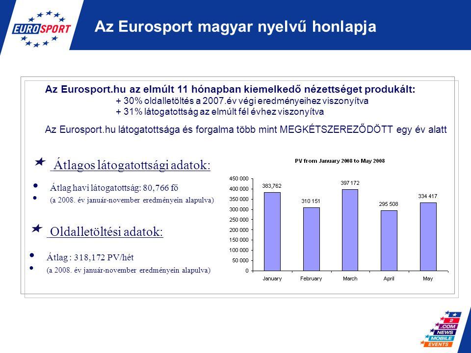 Hirdetési lehetőségek a magyar honlapon Banner elhelyezése a honlap tetején (szalagbanner) Lehetséges méretek: –Standard szalagbanner (468X60): 15 KB max –Mega szalagbanner (728X90): 25KB max A bannerek rotálódhatnak a honlapon Banner elhelyezése az Eurosport fórumán Lehetséges méretek: - Mega szalagbanner (728X90): 25KB max - Oldal banner ( 120X360)