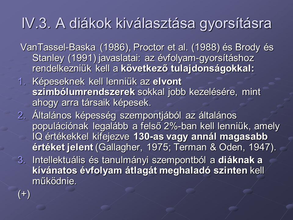 IV.3. A diákok kiválasztása gyorsításra VanTassel-Baska (1986), Proctor et al. (1988) és Brody és Stanley (1991) javaslatai: az évfolyam-gyorsításhoz