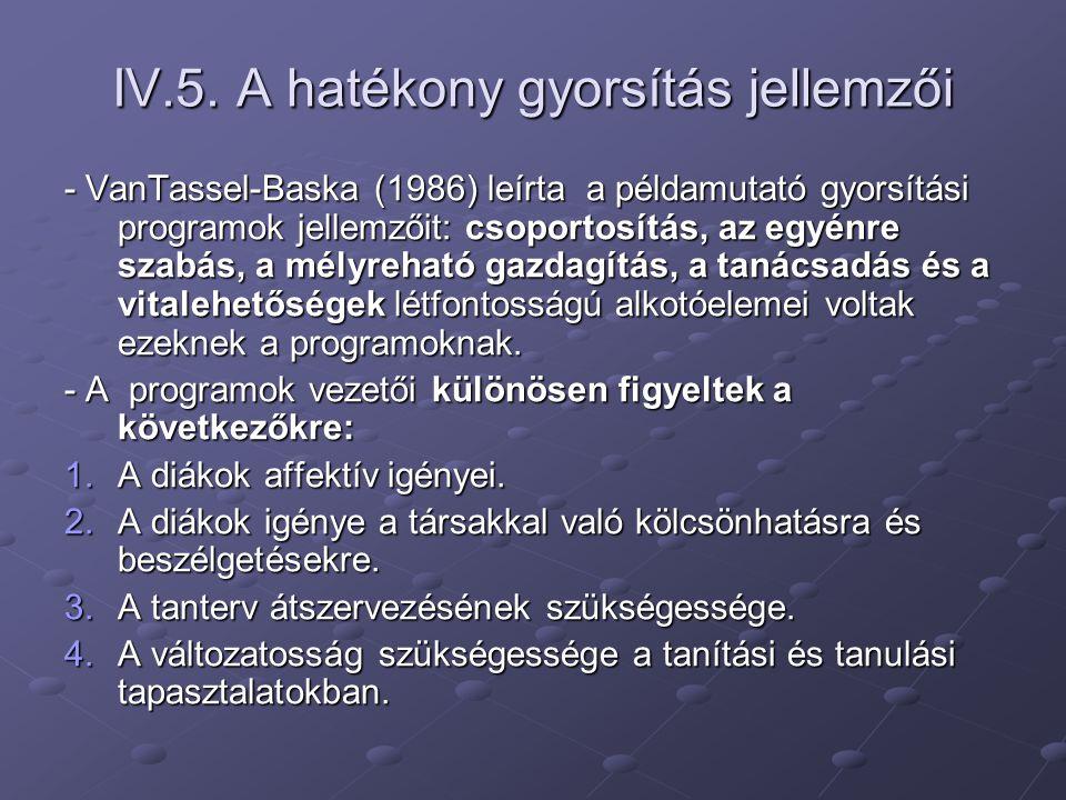 IV.5. A hatékony gyorsítás jellemzői - VanTassel-Baska (1986) leírta a példamutató gyorsítási programok jellemzőit: csoportosítás, az egyénre szabás,
