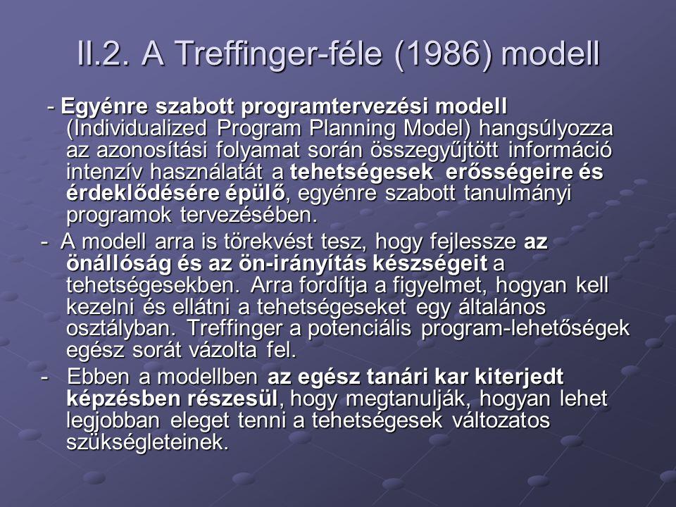 II.2. A Treffinger-féle (1986) modell - Egyénre szabott programtervezési modell (Individualized Program Planning Model) hangsúlyozza az azonosítási fo