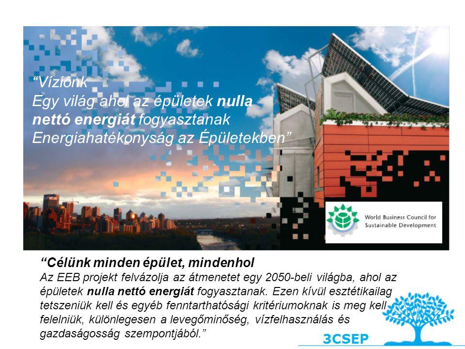 """3CSEP """"Víziónk Egy világ ahol az épületek nulla nettó energiát fogyasztanak Energiahatékonyság az Épületekben"""" """"Célünk minden épület, mindenhol Az EEB"""