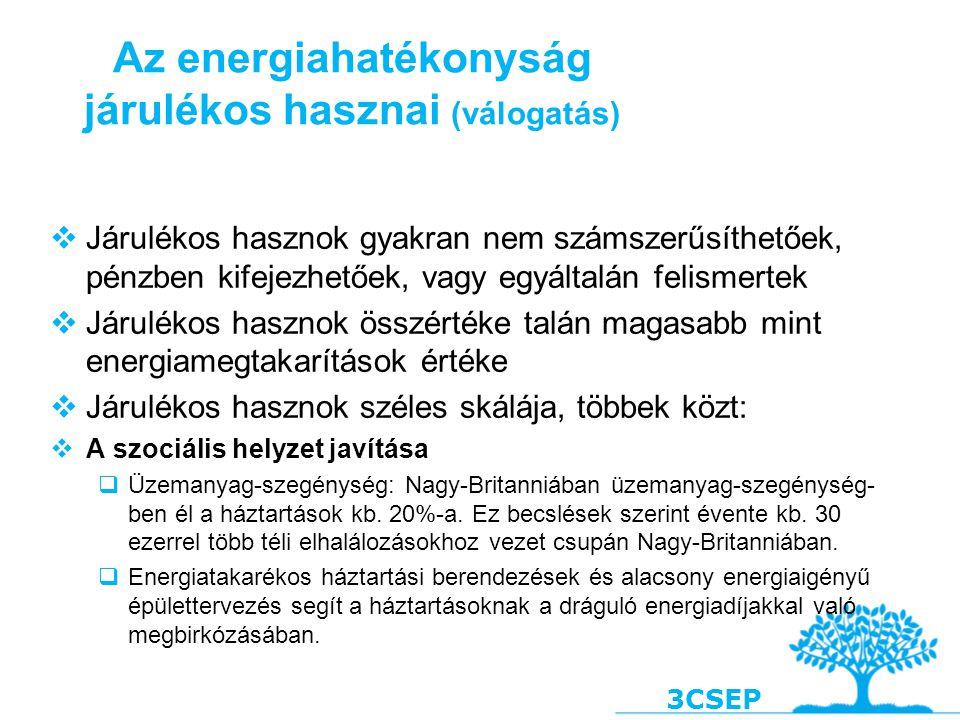 3CSEP Az energiahatékonyság járulékos hasznai (válogatás)  Járulékos hasznok gyakran nem számszerűsíthetőek, pénzben kifejezhetőek, vagy egyáltalán f