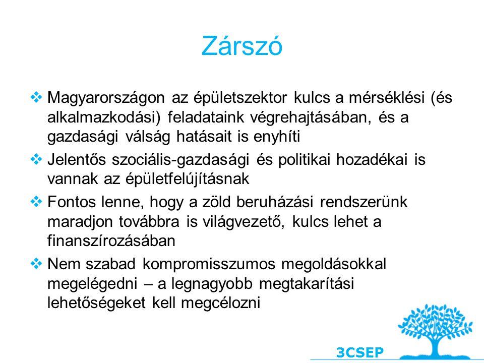3CSEP Zárszó  Magyarországon az épületszektor kulcs a mérséklési (és alkalmazkodási) feladataink végrehajtásában, és a gazdasági válság hatásait is e