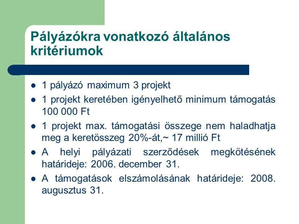 Pályázókra vonatkozó általános kritériumok  1 pályázó maximum 3 projekt  1 projekt keretében igényelhető minimum támogatás 100 000 Ft  1 projekt max.