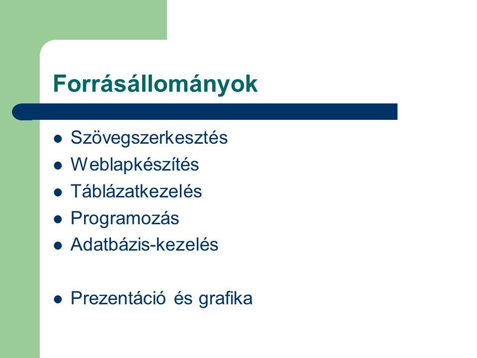 Forrásállományok  Szövegszerkesztés  Weblapkészítés  Táblázatkezelés  Programozás  Adatbázis-kezelés  Prezentáció és grafika
