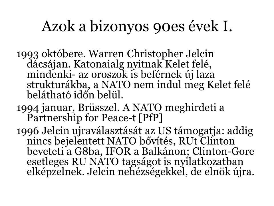 Azok a bizonyos 90es évek I. 1993 októbere. Warren Christopher Jelcin dácsájan. Katonaialg nyitnak Kelet felé, mindenki- az oroszok is beférnek új laz