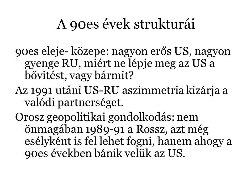 A 90es évek strukturái 90es eleje- közepe: nagyon erős US, nagyon gyenge RU, miért ne lépje meg az US a bővitést, vagy bármit? Az 1991 utáni US-RU asz