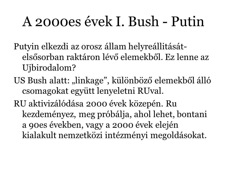 A 2000es évek I. Bush - Putin Putyin elkezdi az orosz állam helyreállitását- elsősorban raktáron lévő elemekből. Ez lenne az Ujbirodalom? US Bush alat