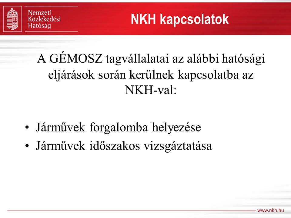 A GÉMOSZ tagvállalatai az alábbi hatósági eljárások során kerülnek kapcsolatba az NKH-val: •Járművek forgalomba helyezése •Járművek időszakos vizsgázt