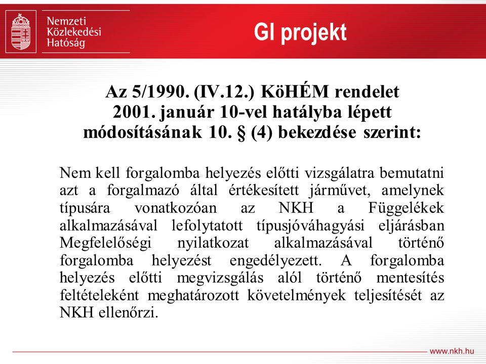 Az 5/1990. (IV.12.) KöHÉM rendelet 2001. január 10-vel hatályba lépett módosításának 10. § (4) bekezdése szerint: Nem kell forgalomba helyezés előtti