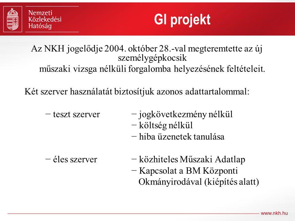 Az NKH jogelődje 2004. október 28.-val megteremtette az új személygépkocsik műszaki vizsga nélküli forgalomba helyezésének feltételeit. Két szerver ha