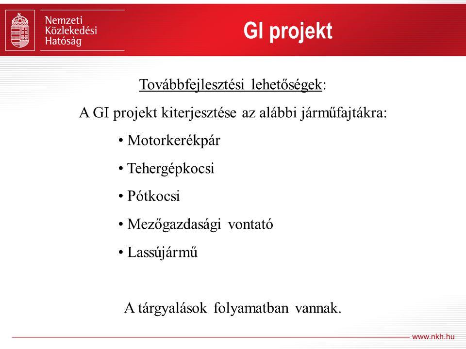 GI projekt Továbbfejlesztési lehetőségek: A GI projekt kiterjesztése az alábbi járműfajtákra: • Motorkerékpár • Tehergépkocsi • Pótkocsi • Mezőgazdasá