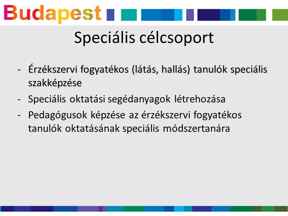 Speciális célcsoport -Érzékszervi fogyatékos (látás, hallás) tanulók speciális szakképzése -Speciális oktatási segédanyagok létrehozása -Pedagógusok képzése az érzékszervi fogyatékos tanulók oktatásának speciális módszertanára