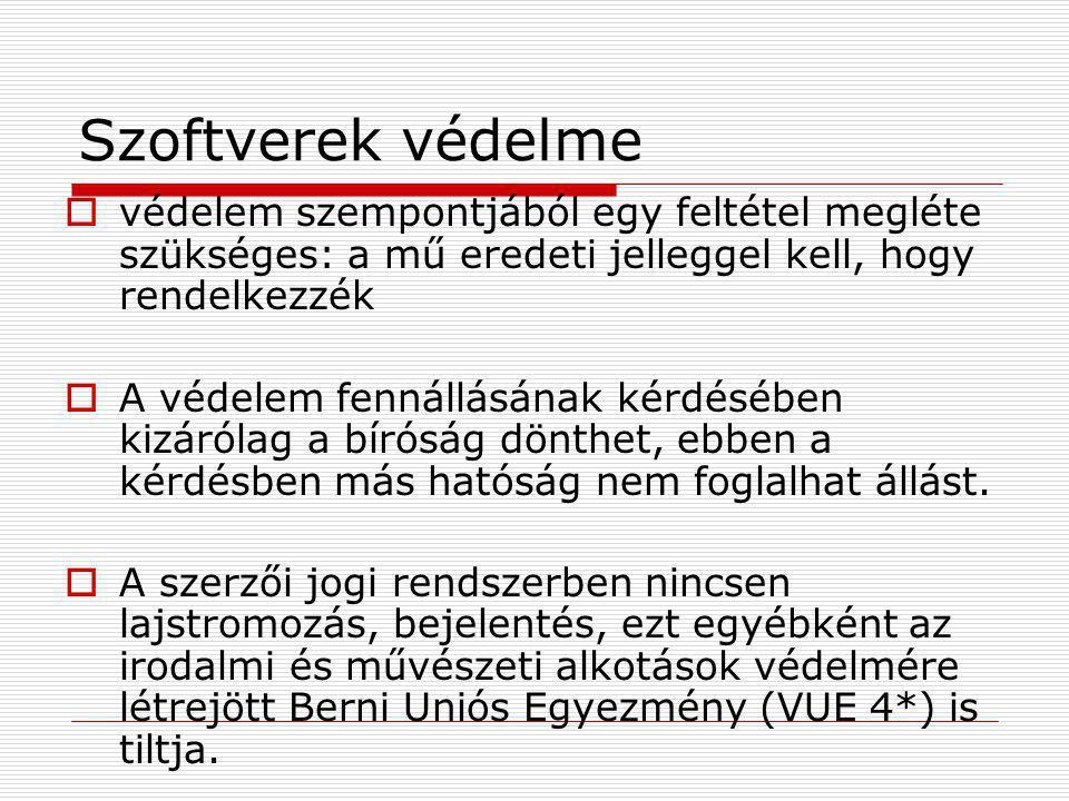 Szoftverek védelme Magyarországon nemcsak a magyar szerzők művei állnak védelem alatt, külföldi állampolgár Magyarországon a szerzői jog vonatkozásában ugyanolyan elbánásban részesül, mint a magyar állampolgár.