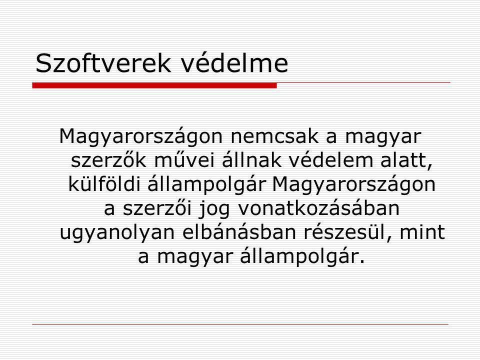 Szoftverek védelme Magyarországon nemcsak a magyar szerzők művei állnak védelem alatt, külföldi állampolgár Magyarországon a szerzői jog vonatkozásába