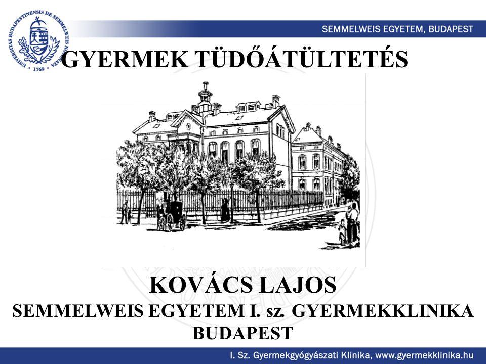 GYERMEK TÜDŐÁTÜLTETÉS KOVÁCS LAJOS SEMMELWEIS EGYETEM I. sz. GYERMEKKLINIKA BUDAPEST