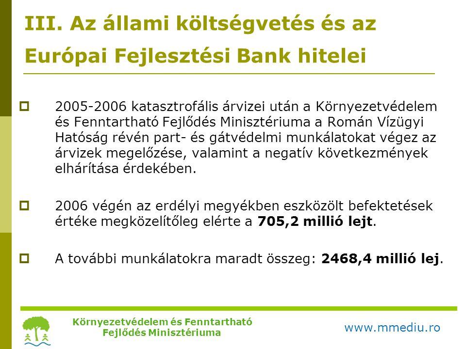 III. Az állami költségvetés és az Európai Fejlesztési Bank hitelei  2005-2006 katasztrofális árvizei után a Környezetvédelem és Fenntartható Fejlődés