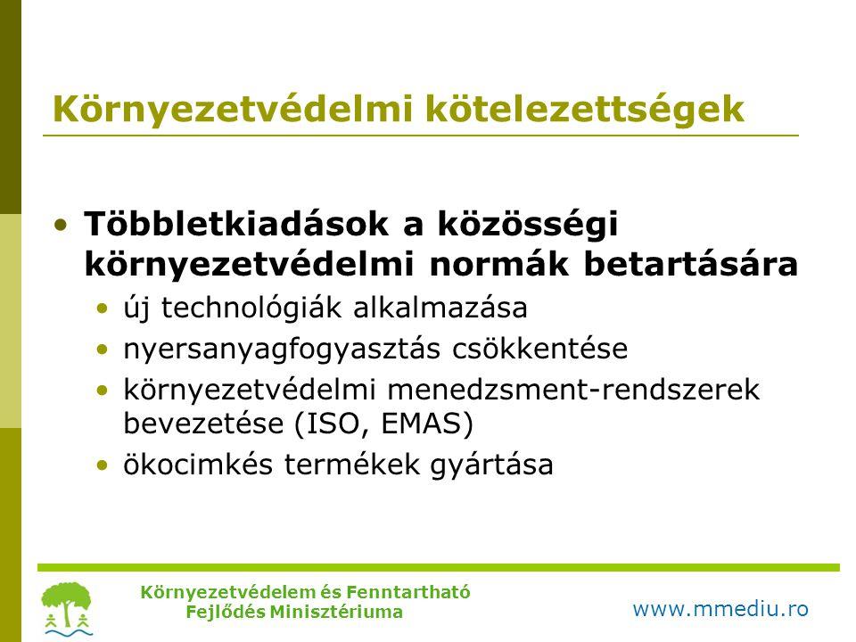 Környezetvédelmi kötelezettségek •Többletkiadások a közösségi környezetvédelmi normák betartására •új technológiák alkalmazása •nyersanyagfogyasztás c