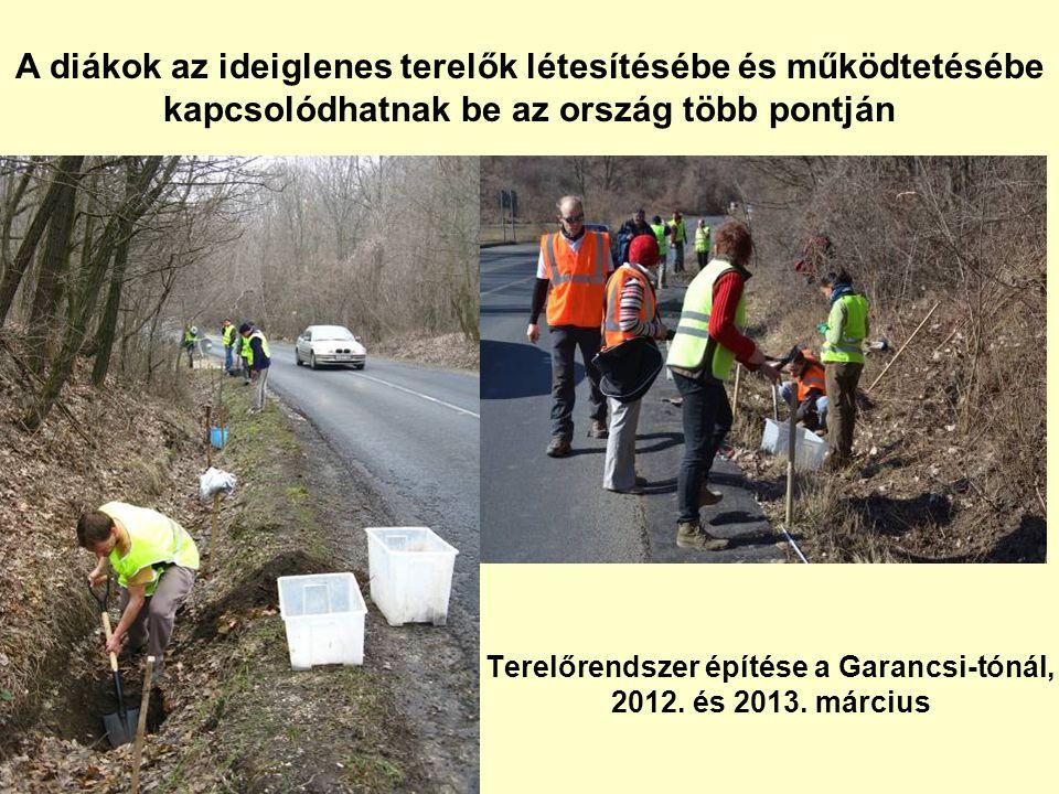 Terelőrendszer építése a Garancsi-tónál, 2012. és 2013. március A diákok az ideiglenes terelők létesítésébe és működtetésébe kapcsolódhatnak be az ors
