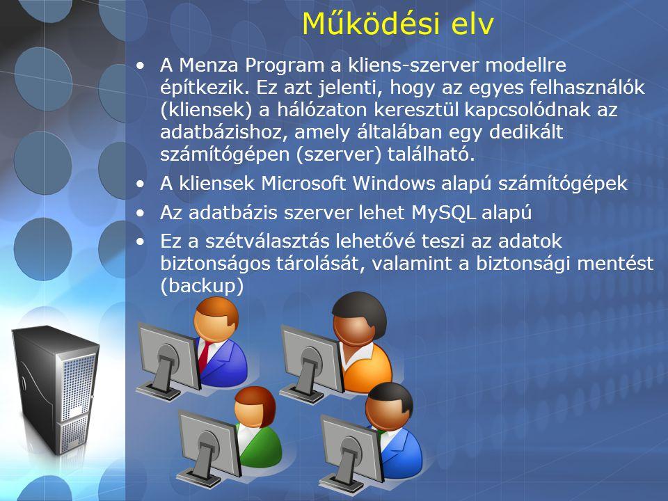 Működési elv •A Menza Program a kliens-szerver modellre építkezik. Ez azt jelenti, hogy az egyes felhasználók (kliensek) a hálózaton keresztül kapcsol