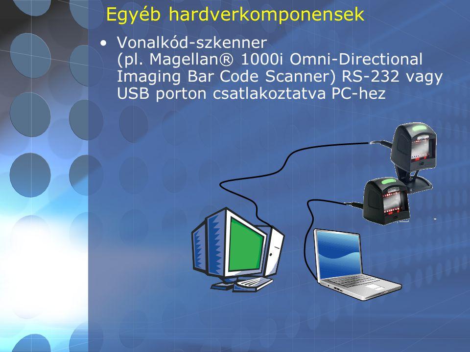 Egyéb hardverkomponensek •Vonalkód-szkenner (pl. Magellan® 1000i Omni-Directional Imaging Bar Code Scanner) RS-232 vagy USB porton csatlakoztatva PC-h