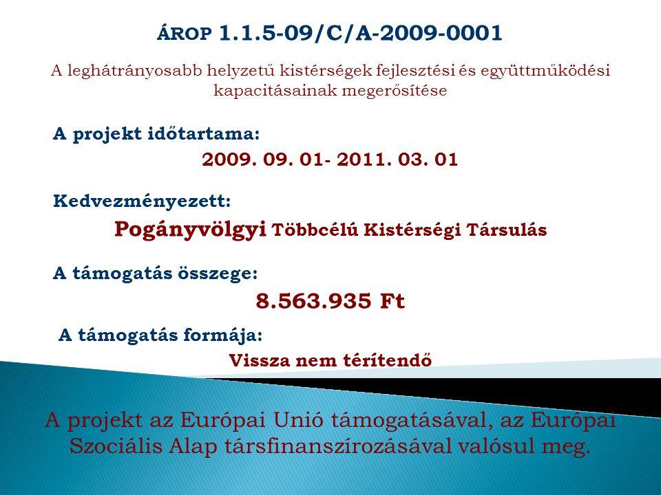 ÁROP 1.1.5-09/C/A-2009-0001 A leghátrányosabb helyzetű kistérségek fejlesztési és együttműködési kapacitásainak megerősítése A projekt időtartama: 200