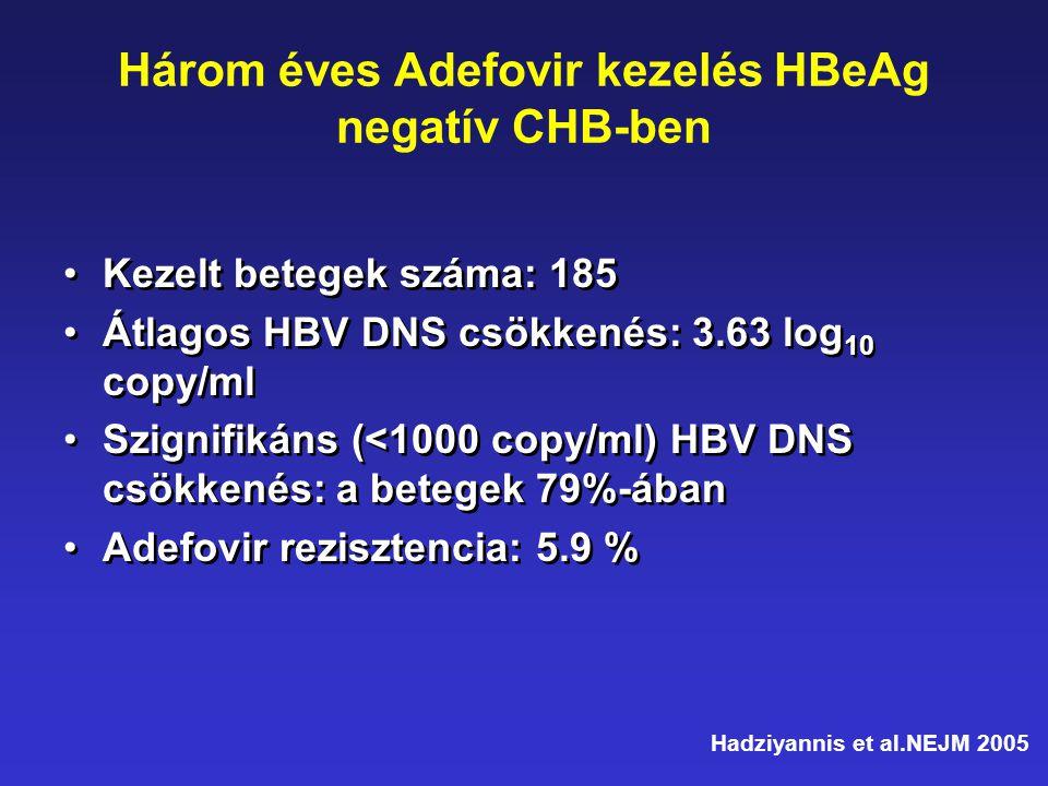 Három éves Adefovir kezelés HBeAg negatív CHB-ben •Kezelt betegek száma: 185 •Átlagos HBV DNS csökkenés: 3.63 log 10 copy/ml •Szignifikáns (<1000 copy