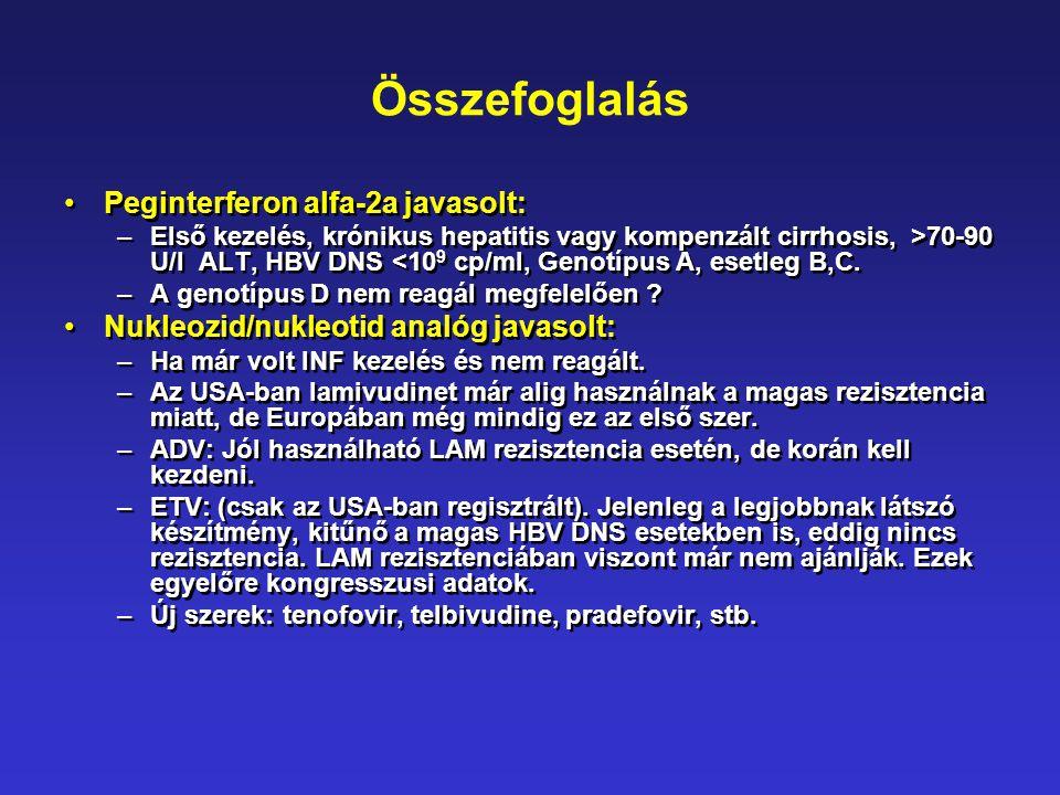 Összefoglalás •Peginterferon alfa-2a javasolt: –Első kezelés, krónikus hepatitis vagy kompenzált cirrhosis, >70-90 U/l ALT, HBV DNS <10 9 cp/ml, Genot