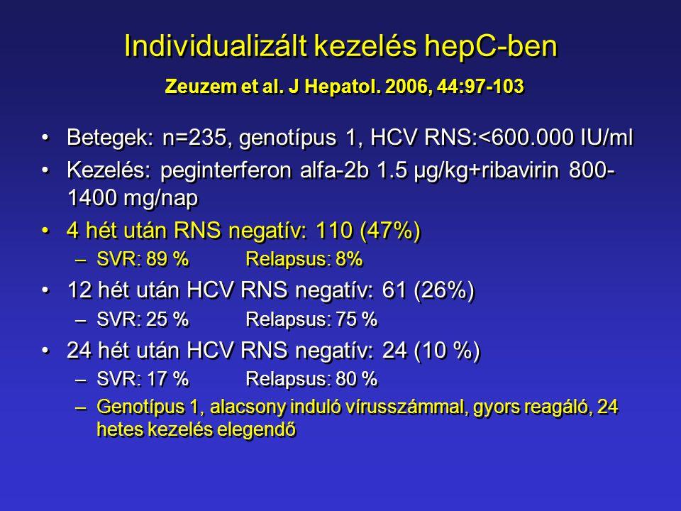 Individualizált kezelés hepC-ben Zeuzem et al. J Hepatol. 2006, 44:97-103 •Betegek: n=235, genotípus 1, HCV RNS:<600.000 IU/ml •Kezelés: peginterferon