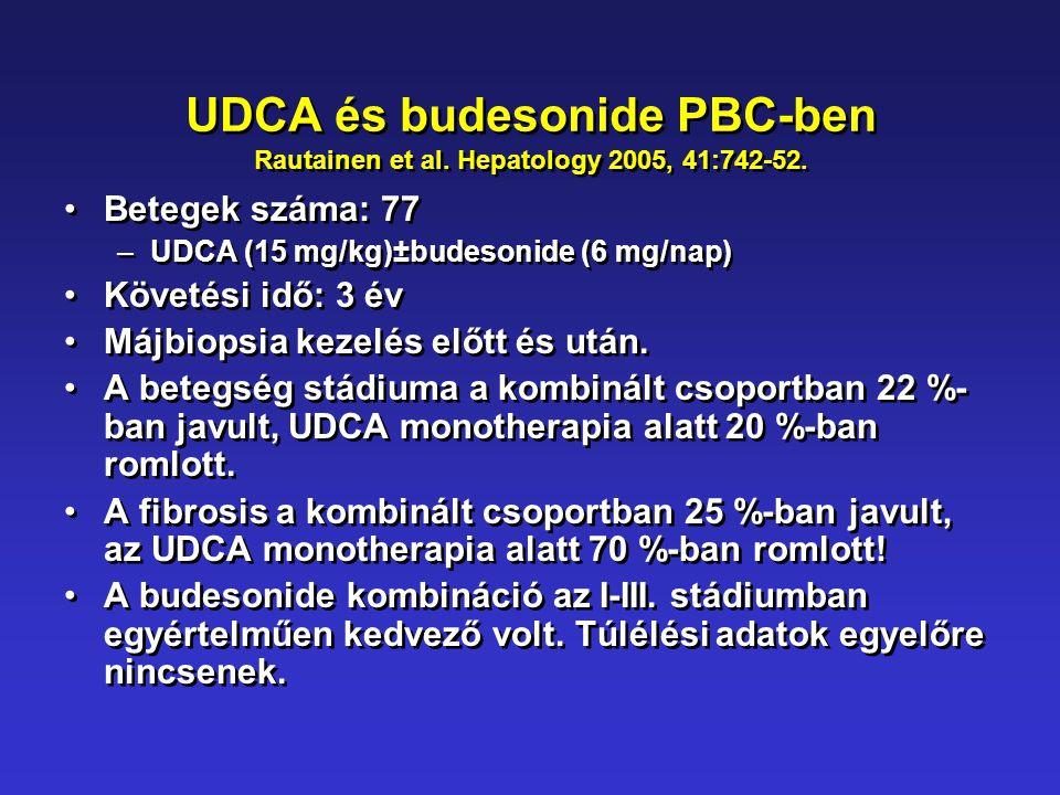 UDCA és budesonide PBC-ben Rautainen et al. Hepatology 2005, 41:742-52. •Betegek száma: 77 –UDCA (15 mg/kg)±budesonide (6 mg/nap) •Követési idő: 3 év