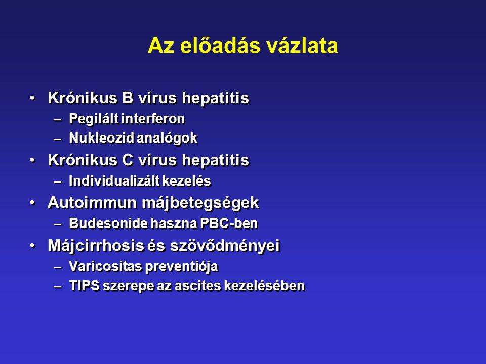Az előadás vázlata •Krónikus B vírus hepatitis –Pegilált interferon –Nukleozid analógok •Krónikus C vírus hepatitis –Individualizált kezelés •Autoimmu