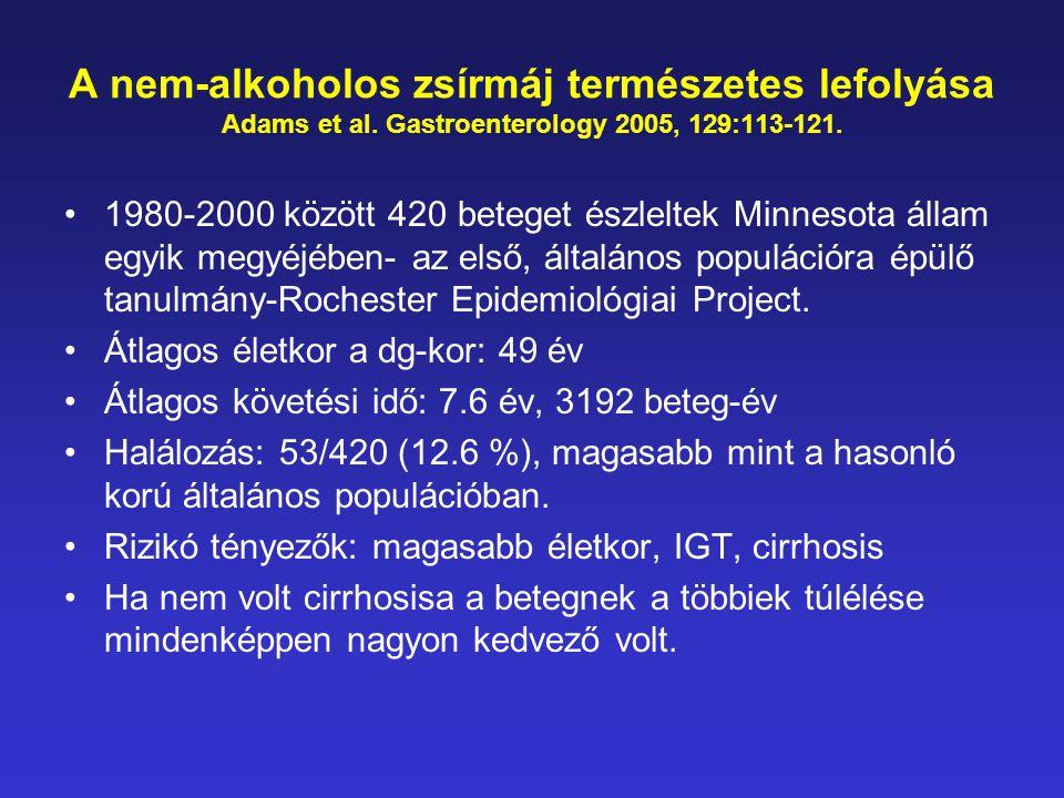 A nem-alkoholos zsírmáj természetes lefolyása Adams et al. Gastroenterology 2005, 129:113-121. •1980-2000 között 420 beteget észleltek Minnesota állam