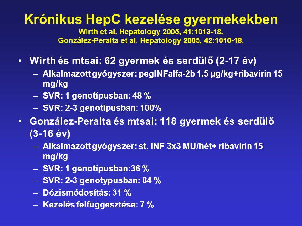 Krónikus HepC kezelése gyermekekben Wirth et al. Hepatology 2005, 41:1013-18. González-Peralta et al. Hepatology 2005, 42:1010-18. •Wirth és mtsai: 62