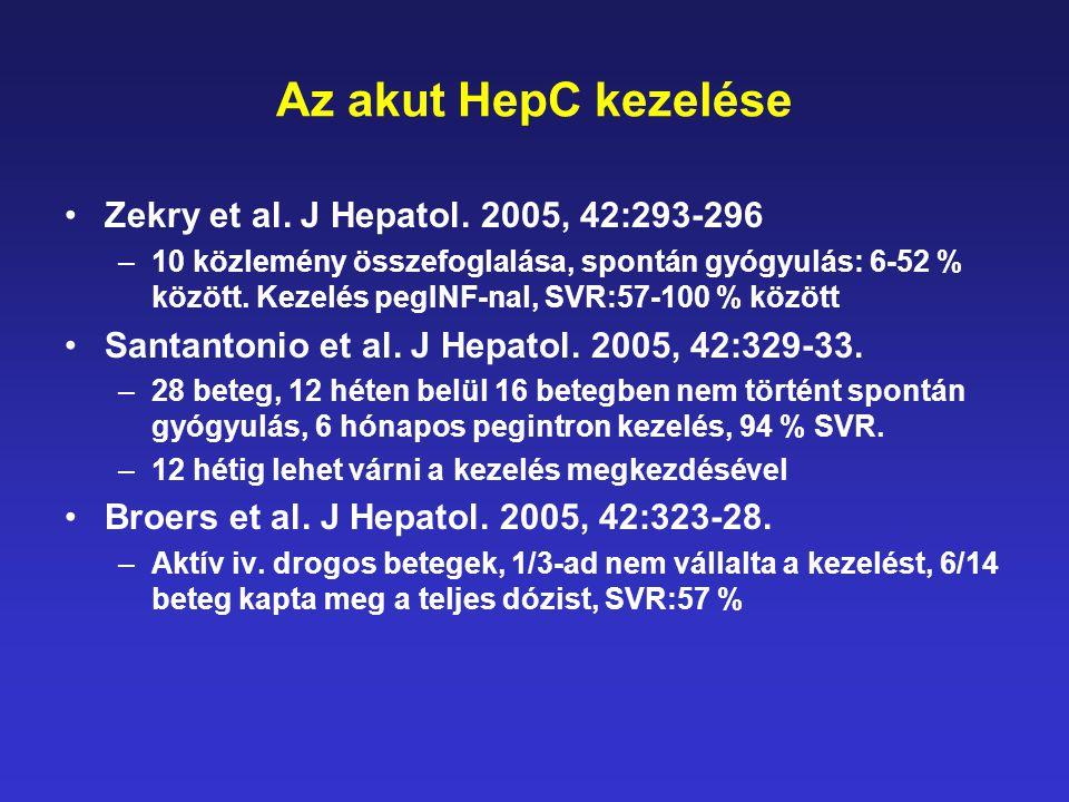 Az akut HepC kezelése •Zekry et al. J Hepatol. 2005, 42:293-296 –10 közlemény összefoglalása, spontán gyógyulás: 6-52 % között. Kezelés pegINF-nal, SV
