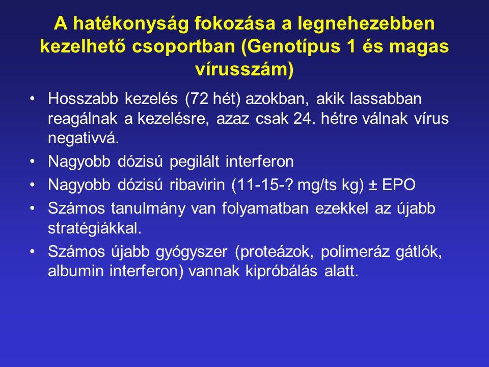 A hatékonyság fokozása a legnehezebben kezelhető csoportban (Genotípus 1 és magas vírusszám) •Hosszabb kezelés (72 hét) azokban, akik lassabban reagál