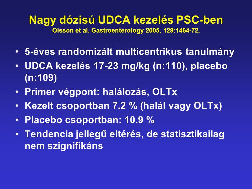 Nagy dózisú UDCA kezelés PSC-ben Olsson et al. Gastroenterology 2005, 129:1464-72. •5-éves randomizált multicentrikus tanulmány •UDCA kezelés 17-23 mg