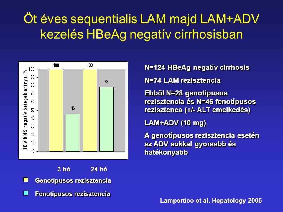 Öt éves sequentialis LAM majd LAM+ADV kezelés HBeAg negatív cirrhosisban 3 hó24 hó Genotípusos rezisztencia Fenotípusos rezisztencia N=124 HBeAg negat